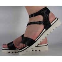 Sandale negre plane dama/dame/femei (cod 16-088026)